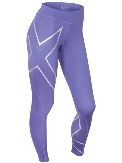 2XU W's Mid-Rise Compression Tights Imperial Purple/Silver logo